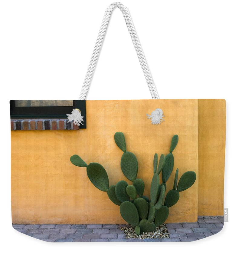 Tucson Weekender Tote Bag featuring the photograph Cactus and Yellow Wall by Carol Leigh