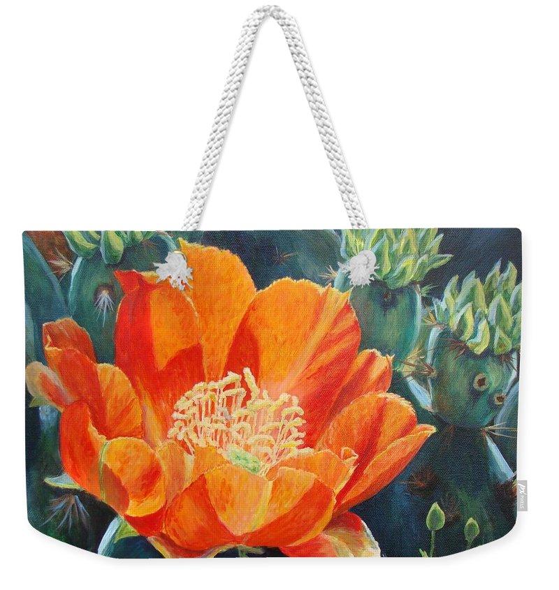 Cactus Bloom Weekender Tote Bag featuring the painting Cactus Bloom by Terrie Leyton