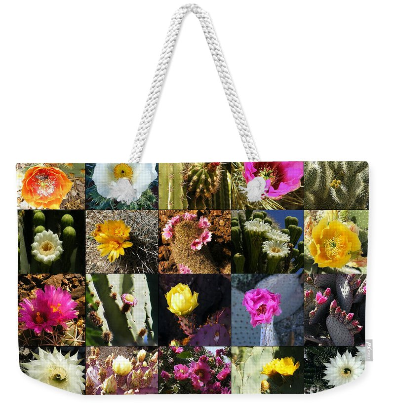 Flowers Weekender Tote Bag featuring the photograph Cactus Collage by Marilyn Smith