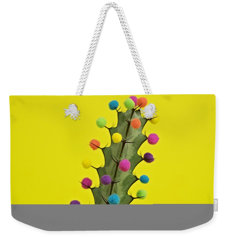 Celebration Weekender Tote Bag featuring the photograph Cactus Decorated With Puffballs by Juj Winn