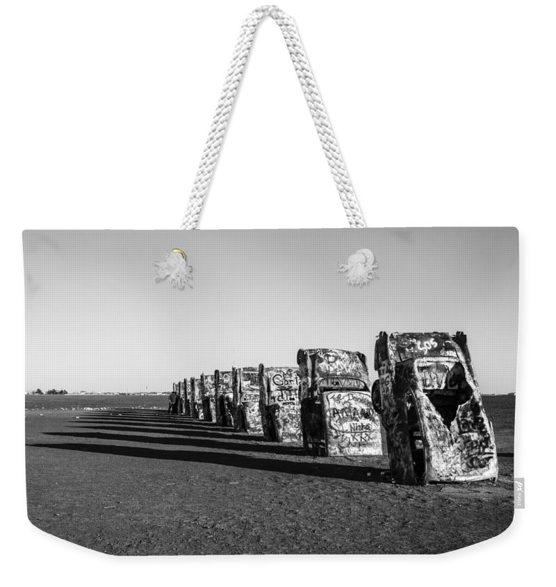 Cadillac Weekender Tote Bag featuring the photograph Cadillac Ranch by Jayme Spoolstra