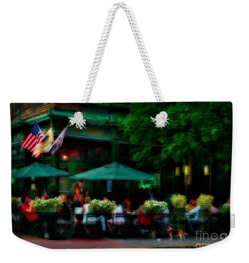 Cafe Weekender Tote Bag featuring the photograph Cafe Alfresco by Susan Candelario