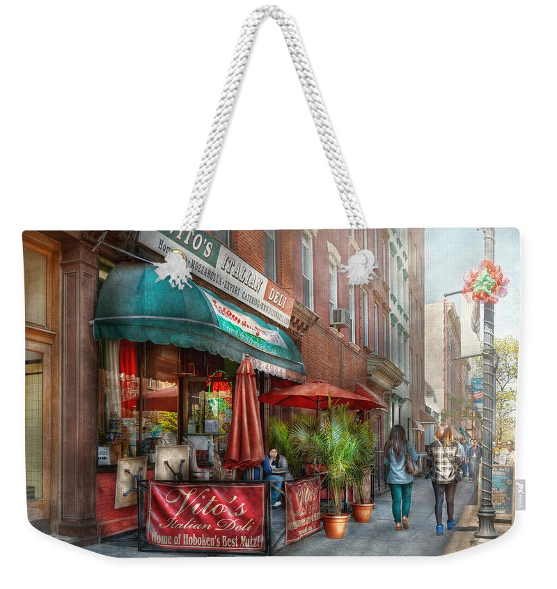 Savad Weekender Tote Bag featuring the photograph Cafe - Hoboken Nj - Vito's Italian Deli by Mike Savad