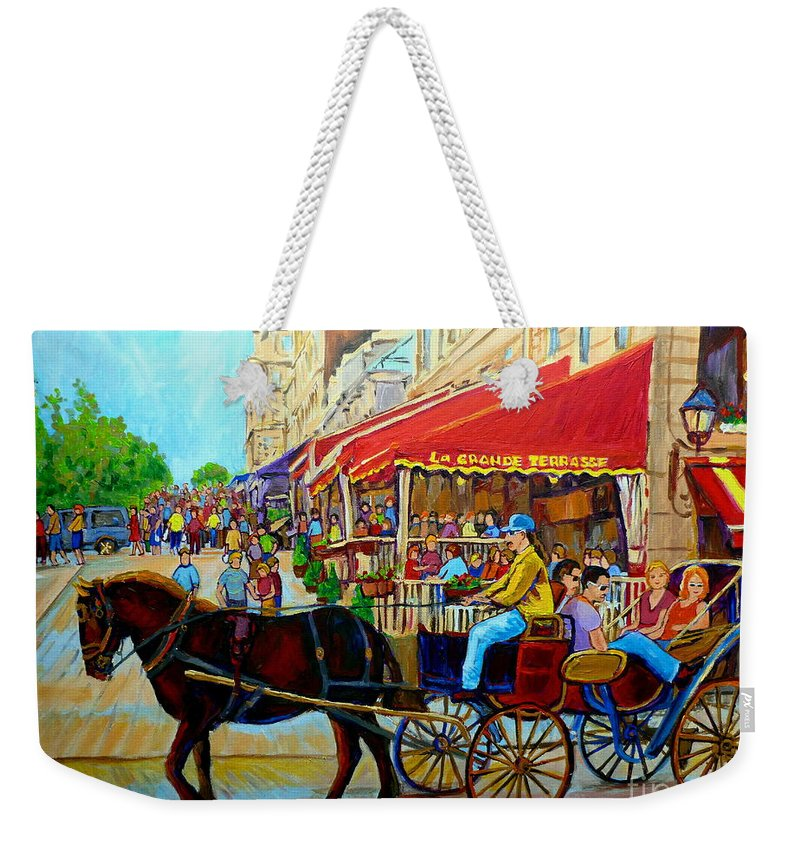 Cafe La Grande Terrasse Weekender Tote Bag featuring the painting Cafe La Grande Terrasse by Carole Spandau