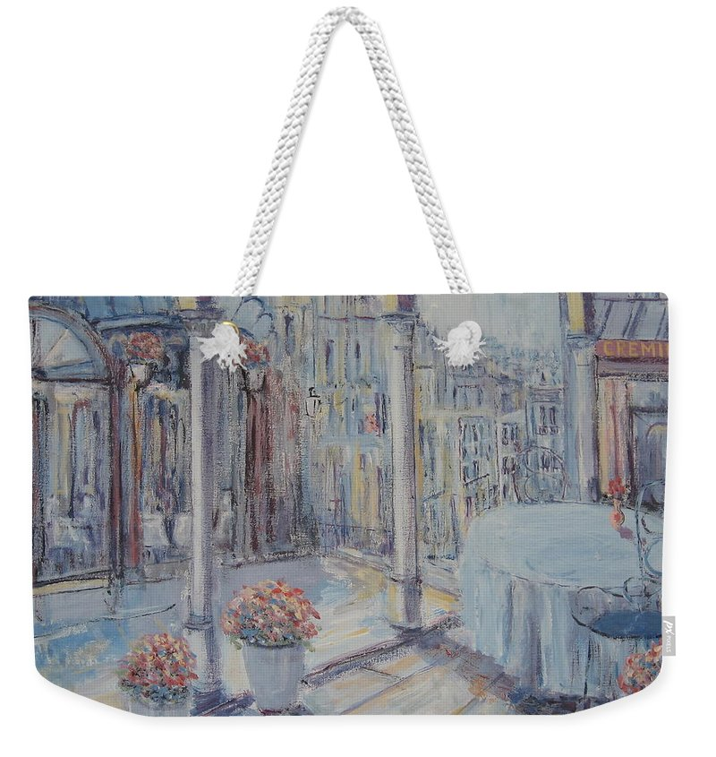 Paris Weekender Tote Bag featuring the painting Cafe Paris by Slobodan Paunovic