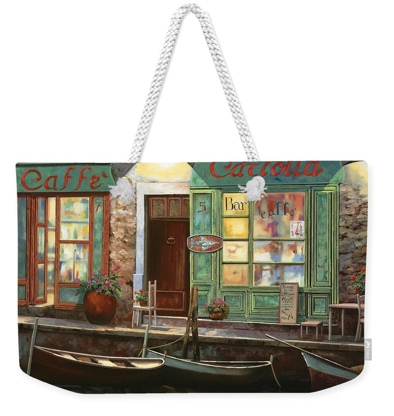 Venice Weekender Tote Bag featuring the painting caffe Carlotta by Guido Borelli