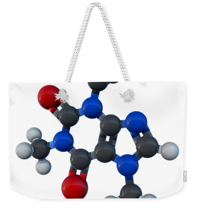 3d Model Weekender Tote Bag featuring the photograph Caffeine Molecular Model by Evan Oto