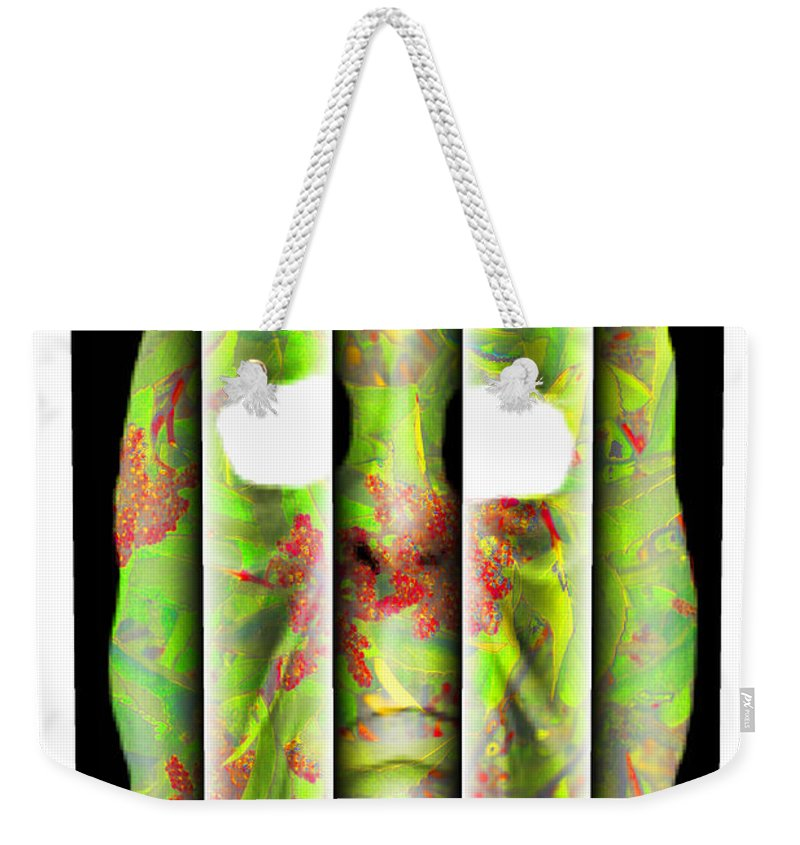 Abstract Weekender Tote Bag featuring the digital art Caged by Jack Bowman