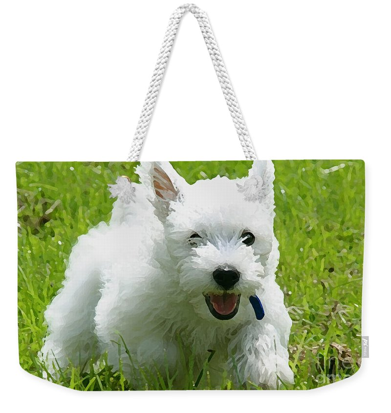Cairn Paintings Weekender Tote Bag featuring the mixed media Cairn Terrier Painting by Marvin Blaine