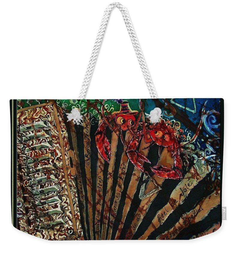 Acadian Weekender Tote Bag featuring the painting Cajun Accordian - Bordered by Sue Duda