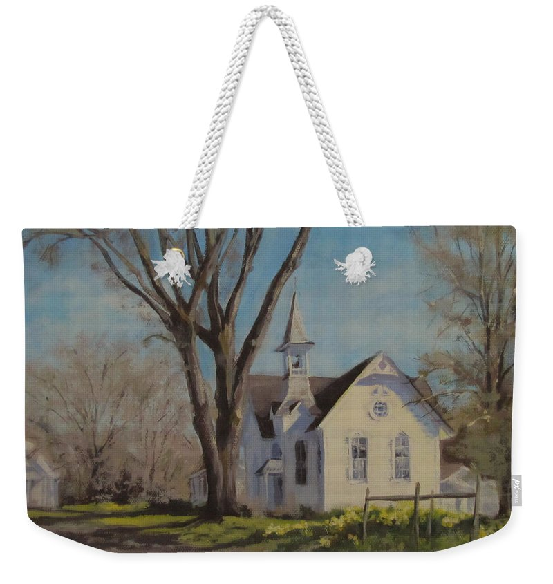 Landscape Weekender Tote Bag featuring the painting Calapooia Church by Karen Ilari