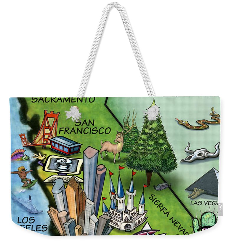 California Weekender Tote Bag featuring the digital art California Cartoon Map by Kevin Middleton