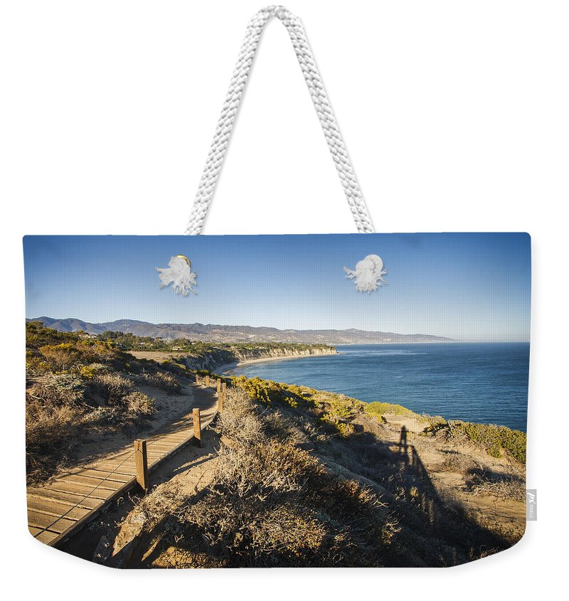 3scape Photos Weekender Tote Bag featuring the photograph California Coastline From Point Dume by Adam Romanowicz