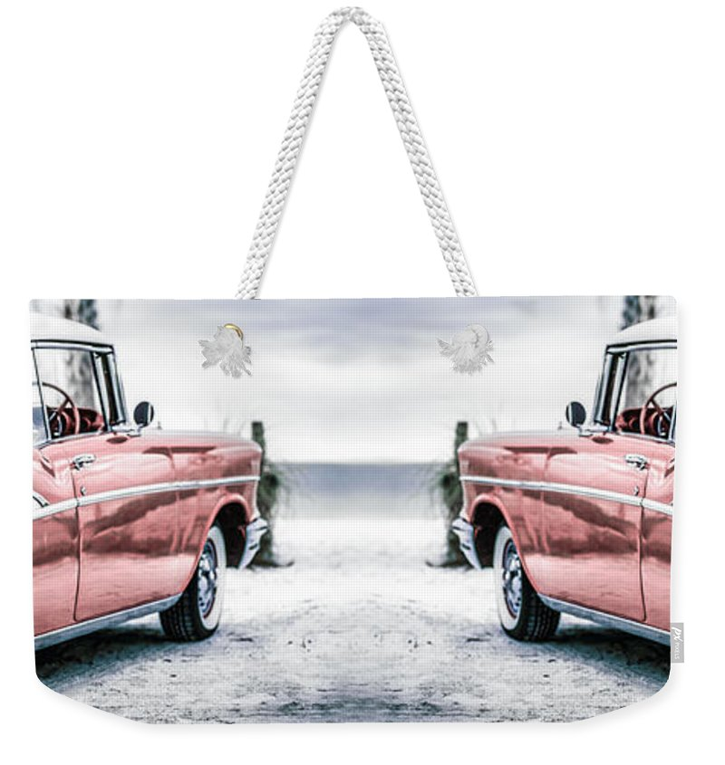 1957 Weekender Tote Bag featuring the photograph California Dreaming Chevy Bel Air Cars by Edward Fielding