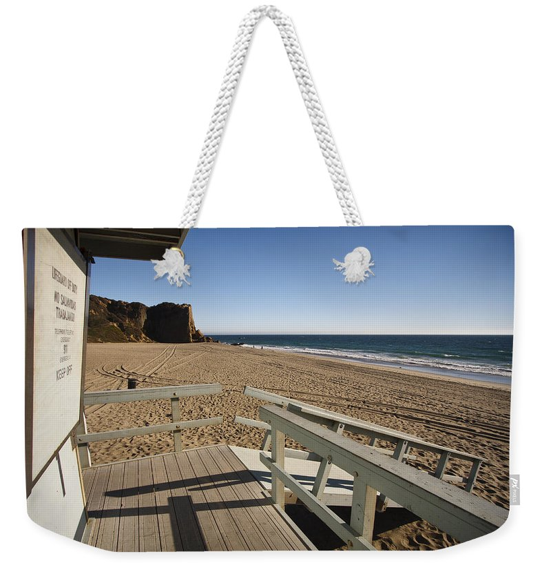3scape Photos Weekender Tote Bag featuring the photograph California Lifeguard Shack At Zuma Beach by Adam Romanowicz