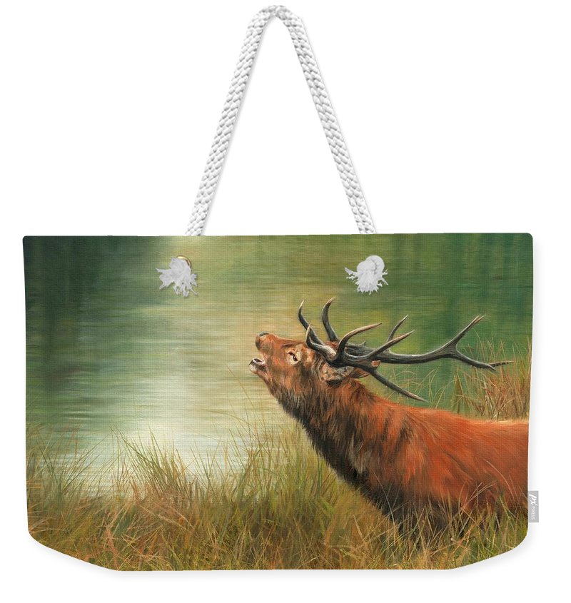 Stag Weekender Tote Bag featuring the painting Call Of The Wild 2 by David Stribbling