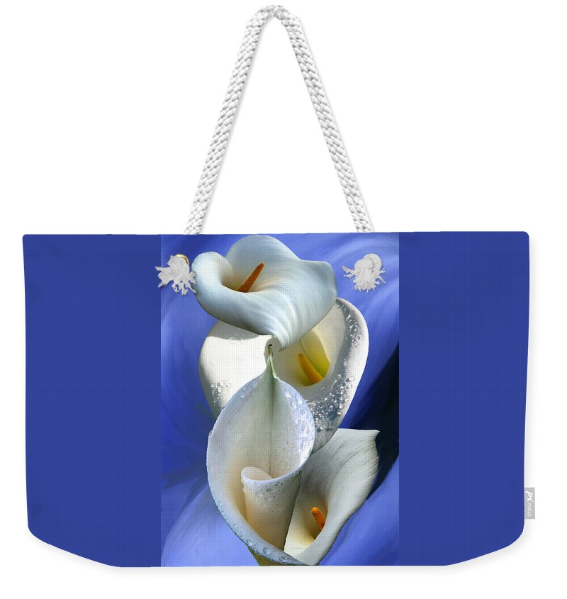 Calla Weekender Tote Bag featuring the digital art Calla Composition by Lisa Yount