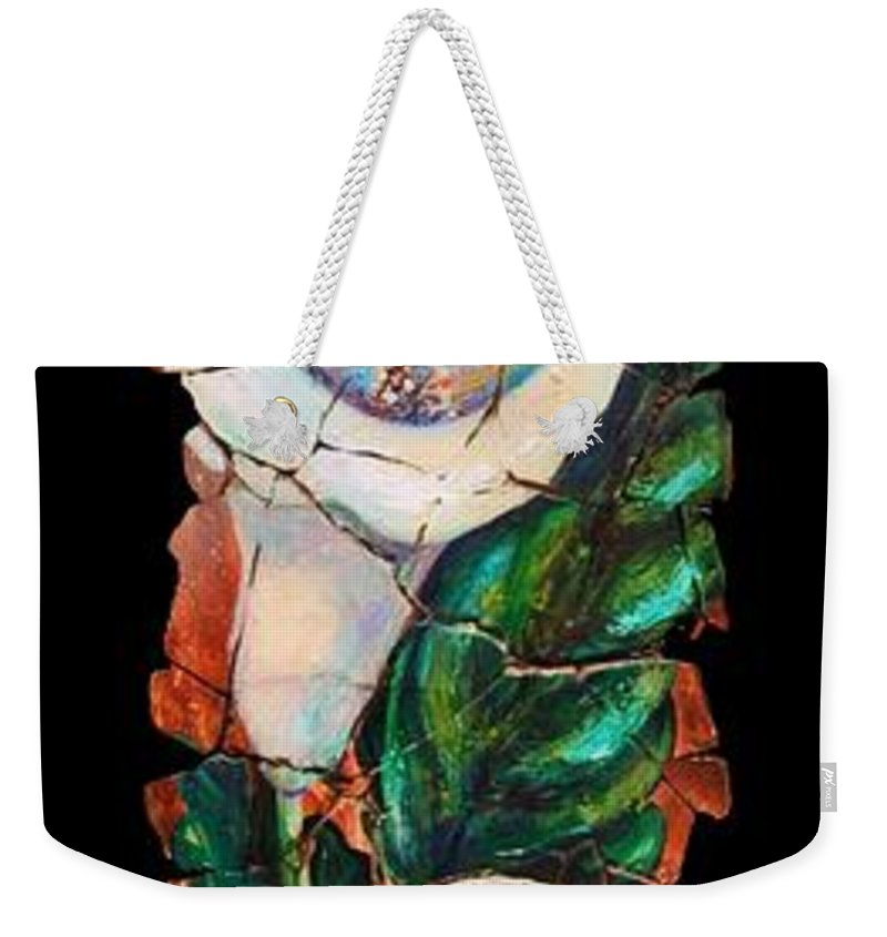 Fresco Antique Painting Flower Weekender Tote Bag featuring the painting Calla Fresco by OLena Art Lena Owens