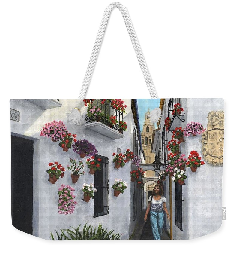 Landscape Weekender Tote Bag featuring the painting Calleje De Las Flores Cordoba Spain by Richard Harpum