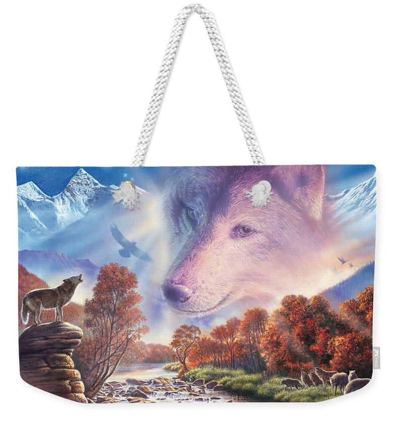 Animals Weekender Tote Bag featuring the photograph Calling To The Pack by Steve Crisp
