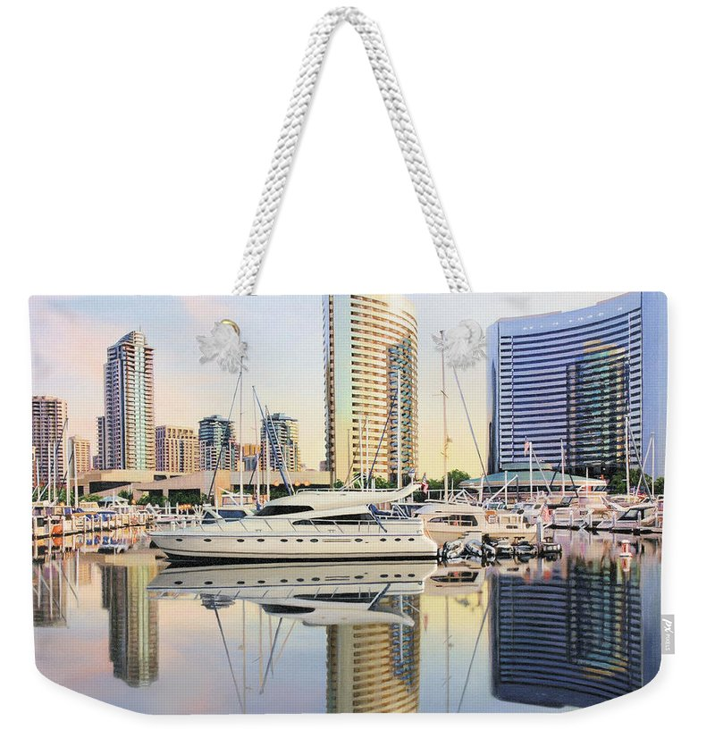 Marina Weekender Tote Bag featuring the painting Calm Summer Morning by Jane Girardot