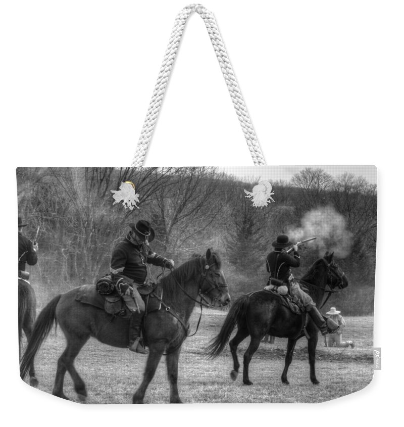 Civil Weekender Tote Bag featuring the photograph Calvary Charge Civil War by John Straton