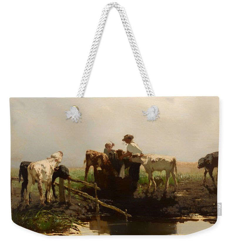 Painting Weekender Tote Bag featuring the painting Calves At A Trough by Mountain Dreams