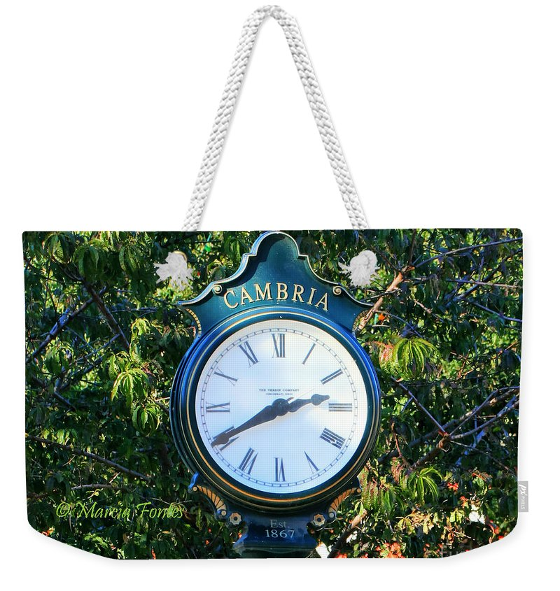 Cambria Weekender Tote Bag featuring the photograph Cambria Square Time Clock by Tap On Photo