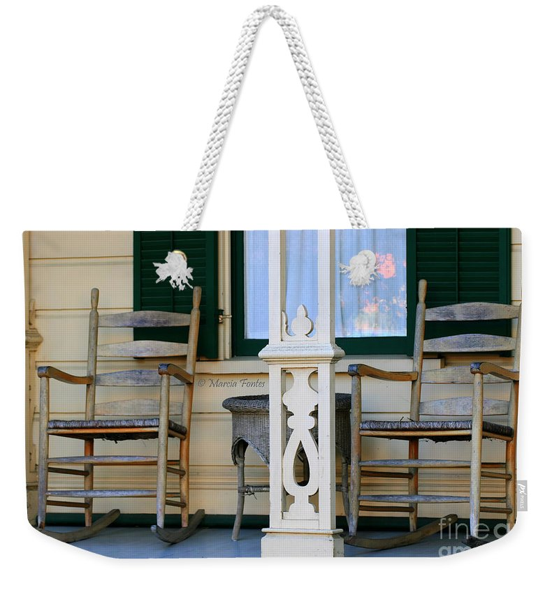 Rocking Weekender Tote Bag featuring the photograph Cambria Squibb House Rocking Chairs by Tap On Photo