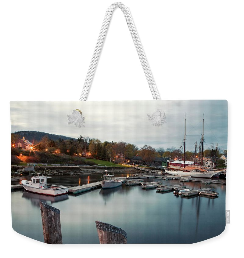 Camden Weekender Tote Bag featuring the photograph Camden Harbor, Maine At Twighlight by Chris Bennett