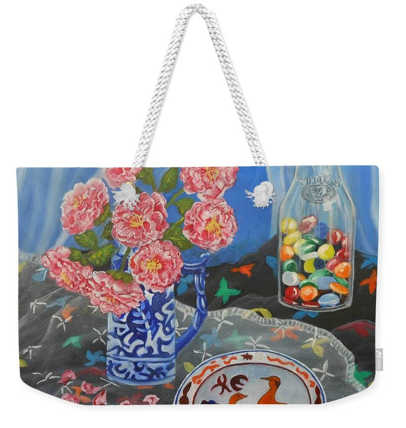 Camellia Weekender Tote Bag featuring the painting Camellias With Glass Beads by Caroline Street