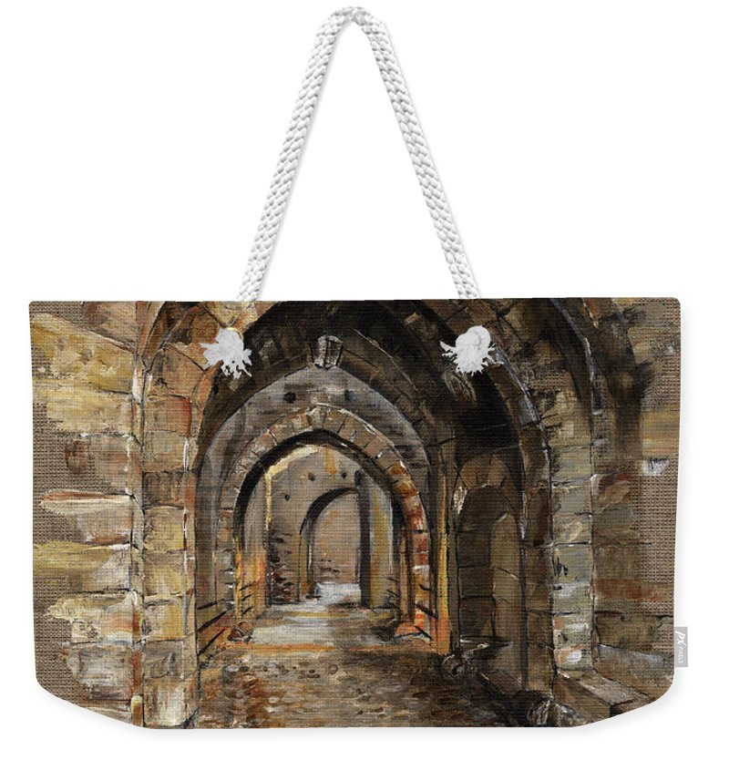 Camelot Weekender Tote Bag featuring the painting Camelot - The Way To Ancient Times - Elena Yakubovich by Elena Yakubovich