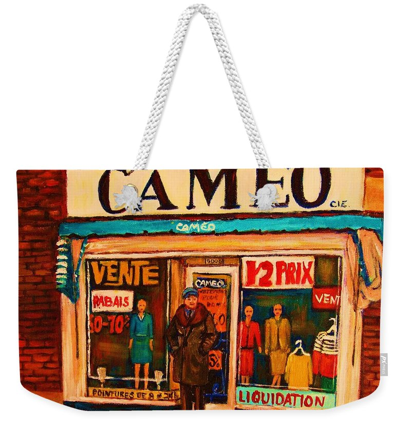 Cameo Dress Shop Weekender Tote Bag featuring the painting Cameo Dress Shop by Carole Spandau