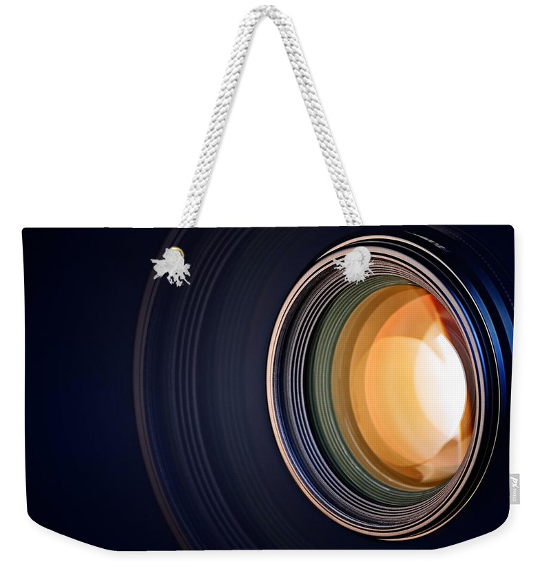 Lens Weekender Tote Bag featuring the photograph Camera Lens Background by Johan Swanepoel