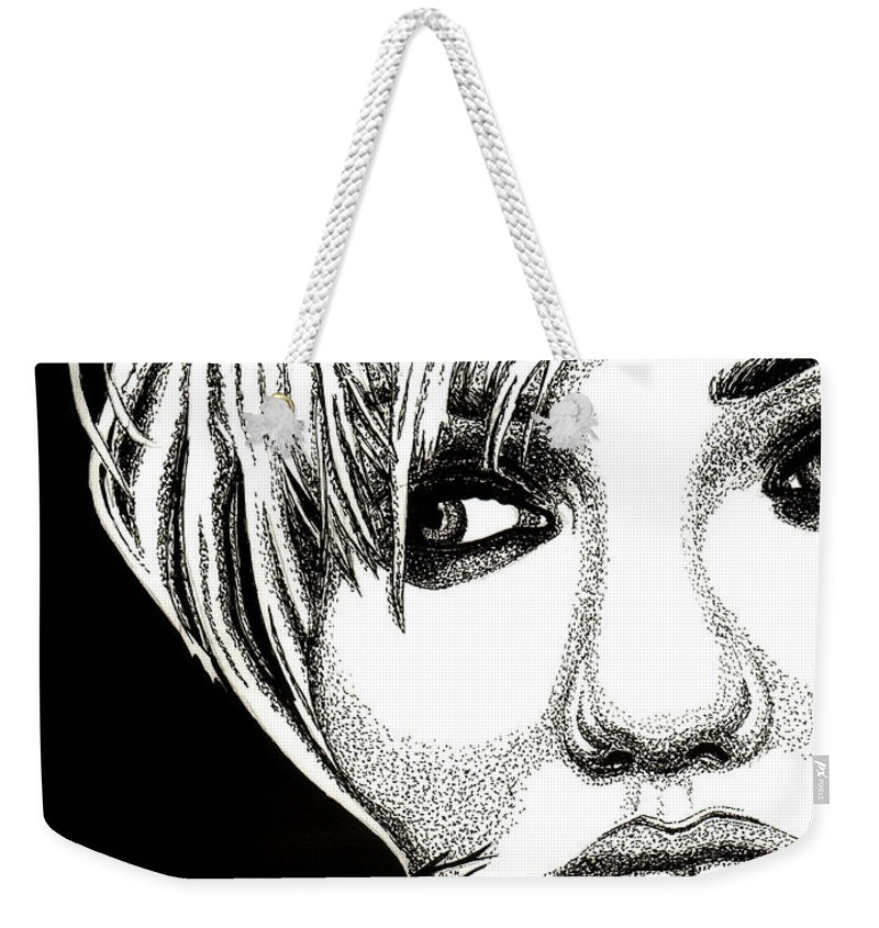 Cameron Diaz Weekender Tote Bag featuring the drawing Cameron Diaz by Cory Still