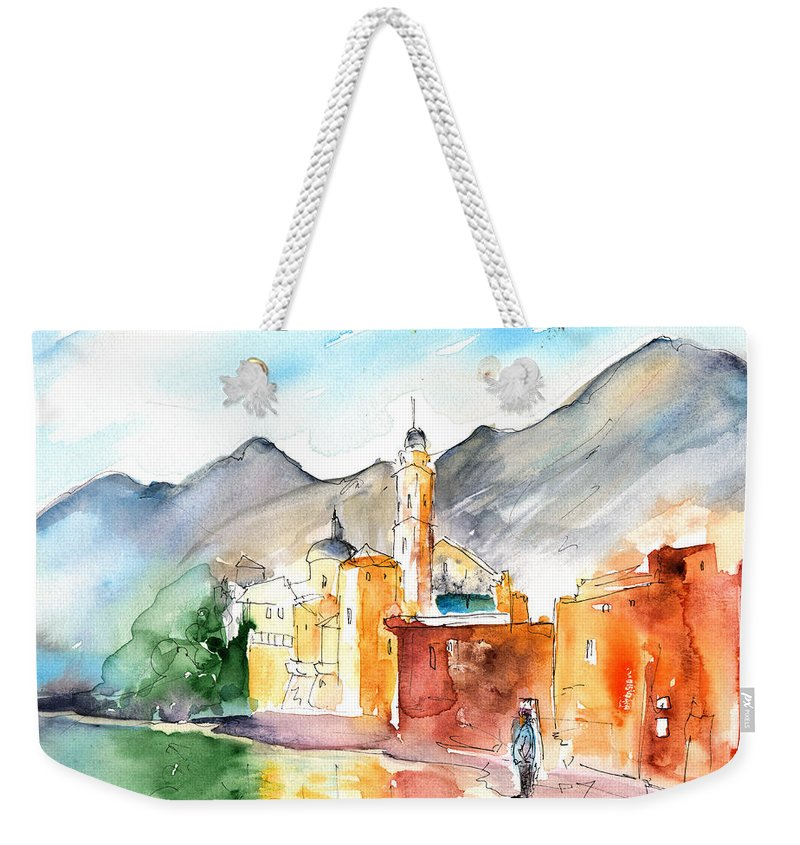 Italy Weekender Tote Bag featuring the painting Camogli In Italy 11 by Miki De Goodaboom