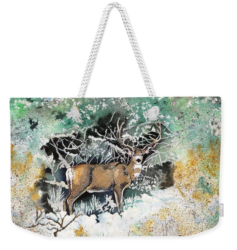 Camouflage Weekender Tote Bag featuring the painting Camouflaged Mule Deer Buck In Winter by Dale Jackson