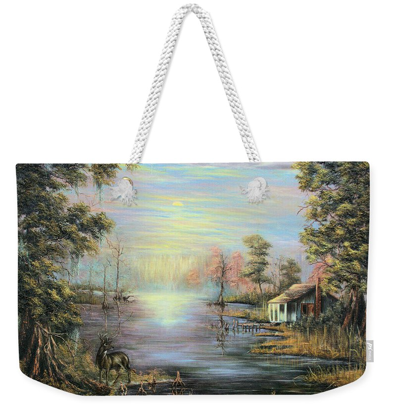 Camp On The Bayou Weekender Tote Bag featuring the painting Camp On The Bayou by Karry Degruise