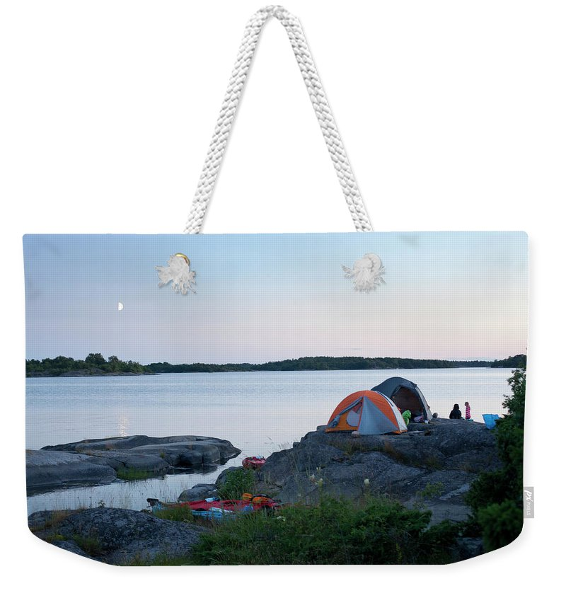 Archipelago Weekender Tote Bag featuring the photograph Camping At Coast At Evening by Johner Images