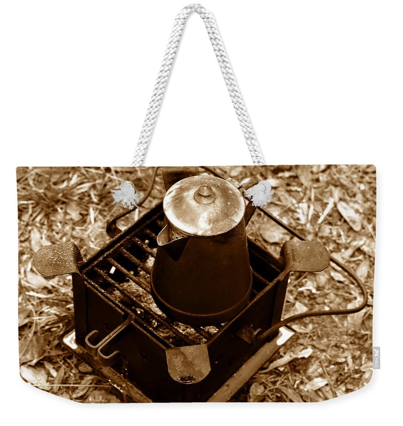 Camping Weekender Tote Bag featuring the photograph Camping Coffee by David Lee Thompson