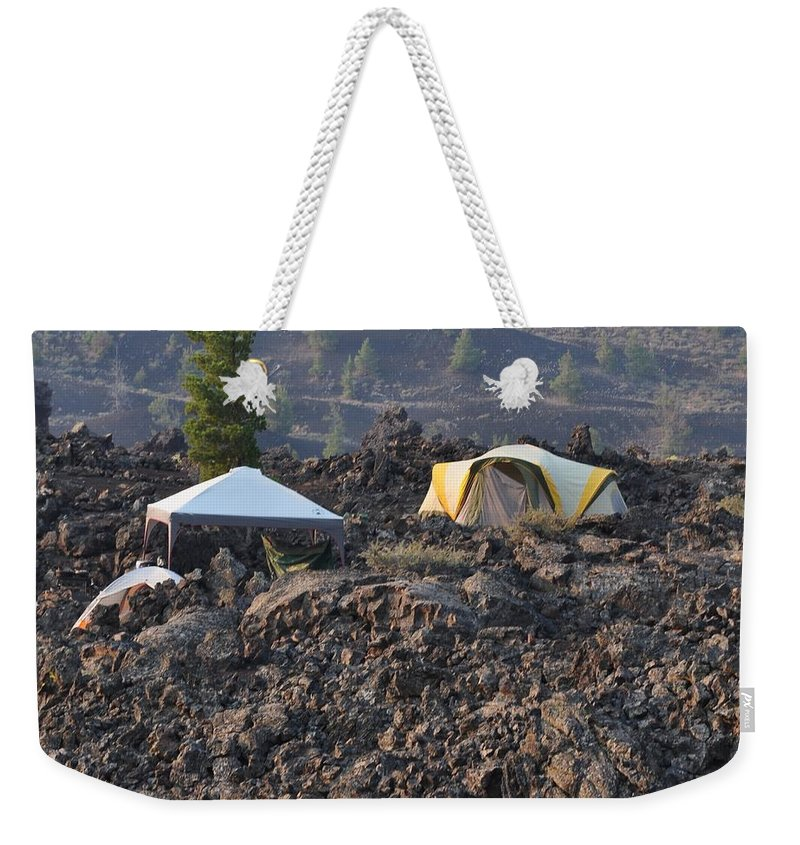 Craters Of The Moon Weekender Tote Bag featuring the photograph Camping On The Moon by Image Takers Photography LLC - Laura Morgan