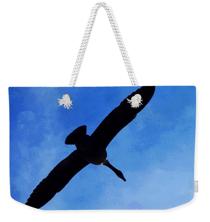 Horn Pond Weekender Tote Bag featuring the photograph Canada Goose In Flight by Joe Faherty