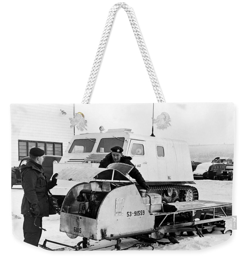 1954 Weekender Tote Bag featuring the photograph Canada's Military Excercise by Underwood Archives
