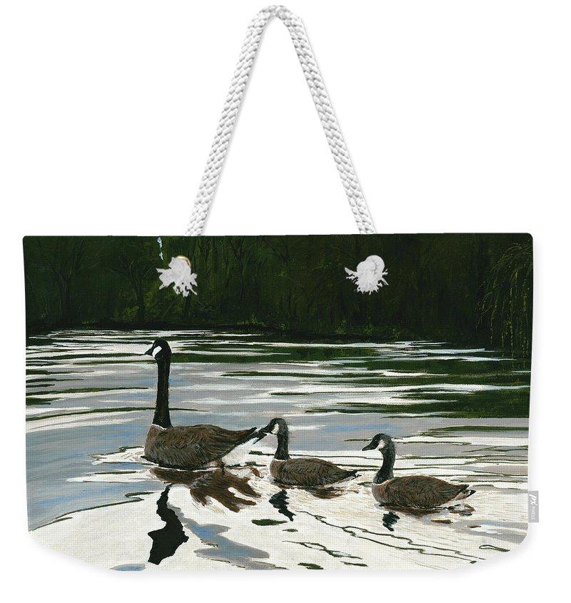 Wildlife Weekender Tote Bag featuring the painting Canadas On Wilson Lake Nc by Carlene Salazar