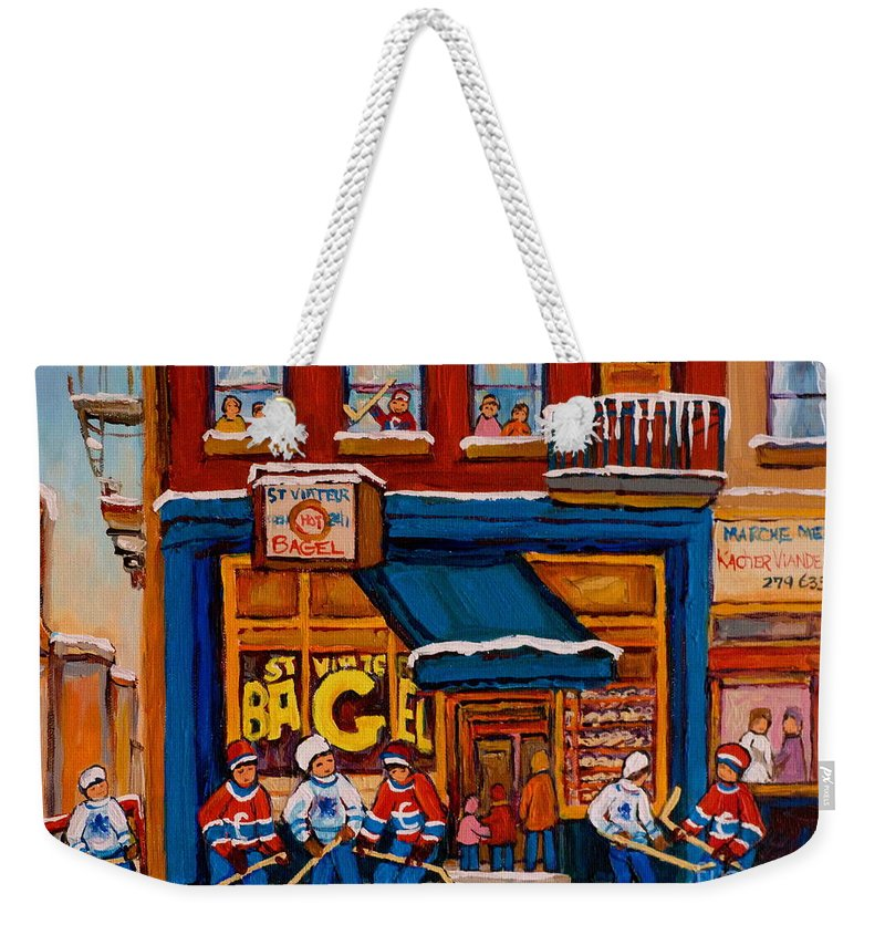 Canadian Art Specialist Weekender Tote Bag featuring the painting Canadian Artists Paint Hockey And Montreal Streetscenes Over 500 Prints Available by Carole Spandau