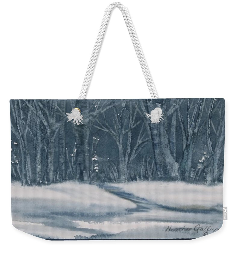 Monochromatic Weekender Tote Bag featuring the painting Canadian Backyard by Heather Gallup