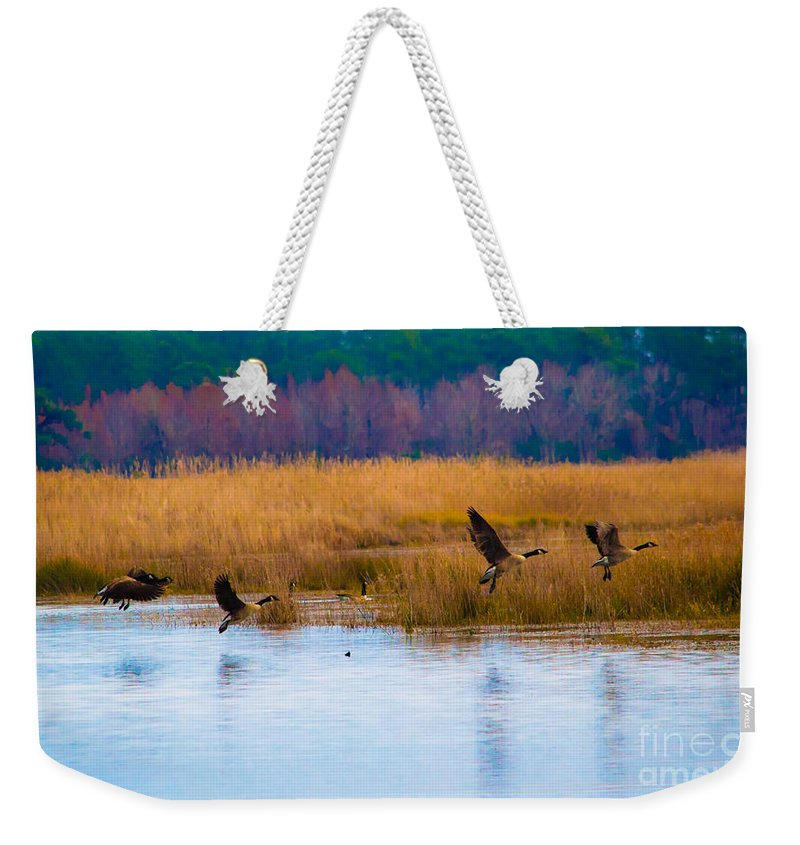 Canada Weekender Tote Bag featuring the photograph Canadian Flight by Scott Hervieux