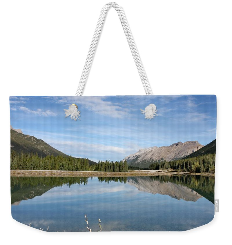 Mountains Weekender Tote Bag featuring the photograph Canadian Rocky Mountains With Lake by Terry Fleckney