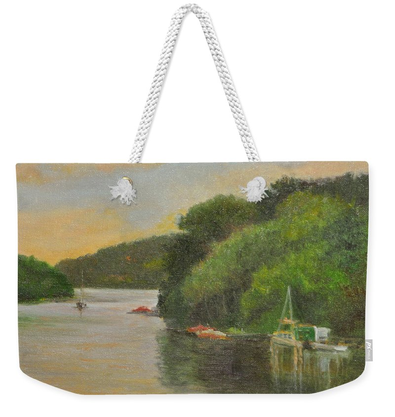 Landscape Weekender Tote Bag featuring the painting Candlewood Lake Late Afternoon by Phyllis Tarlow