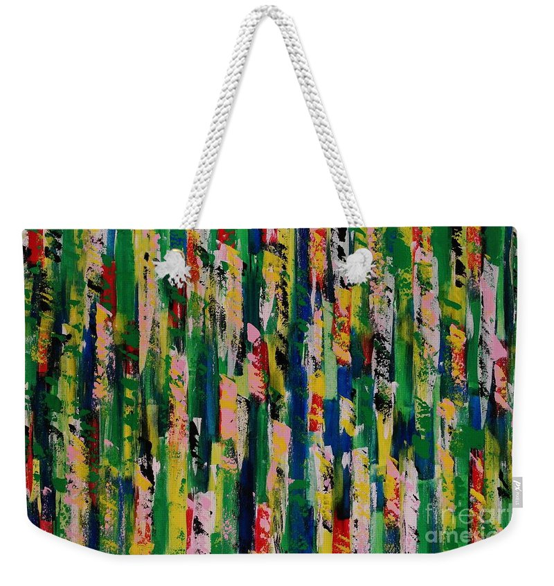Abstract Weekender Tote Bag featuring the painting Candy Crush by Wayne Cantrell